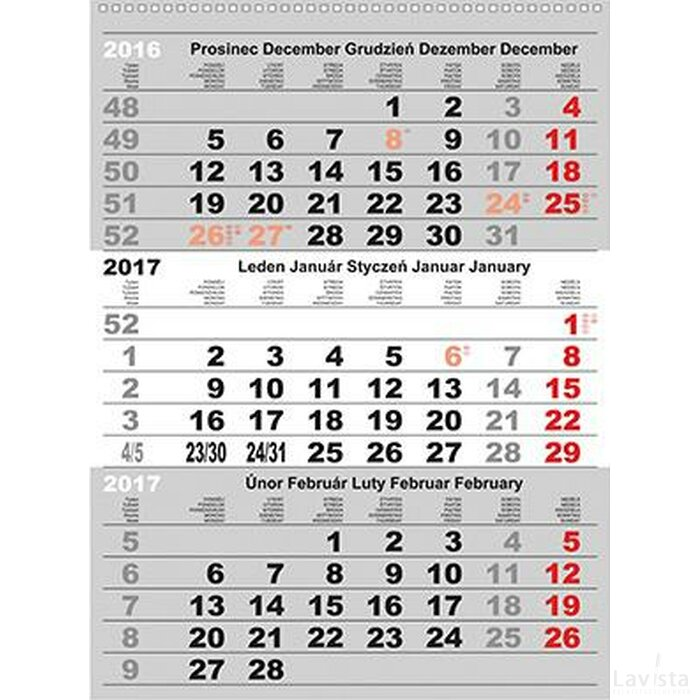3-month Standard Wall Calendar 2017