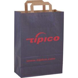 Papieren tas met plat hengsel 260 x 360 x 120 mm. donkerblauw