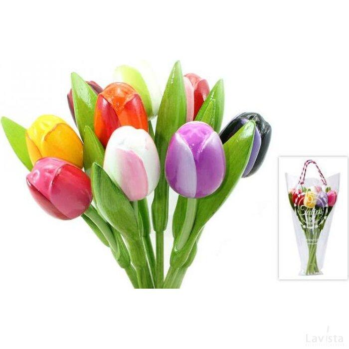 Boeket 9 houten tulpen Multi-color