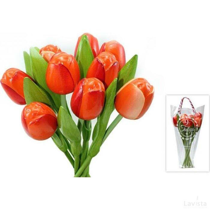 Boeket 9 houten tulpen Orange