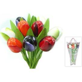 Boeket 9 houten tulpen Red, White, Aubergine, Orange
