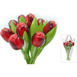 Boeket 9 houten tulpen Red-Aubergine
