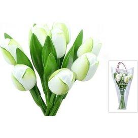 Boeket 9 houten tulpen White