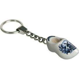 Sleutelhanger met een klompje Tulp delftsblauw