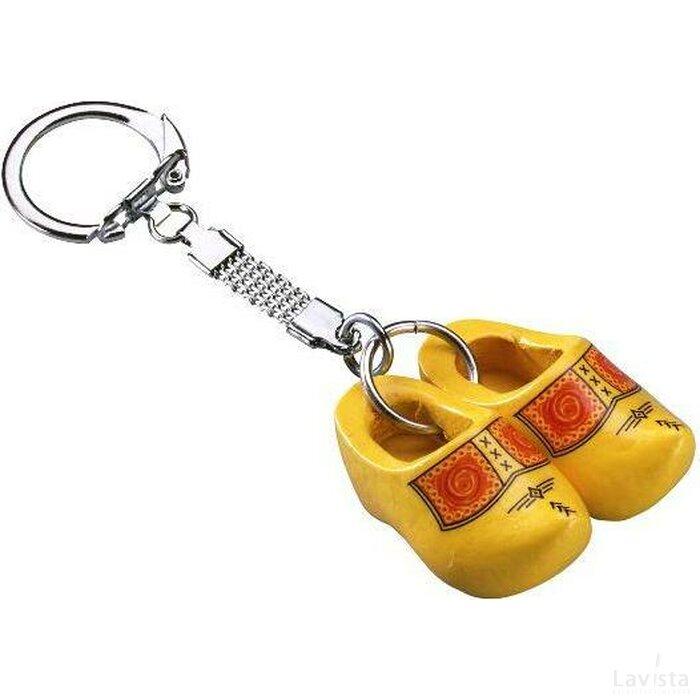 Sleutelhanger met twee klompjes Bies geel