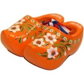 Souvenirklompje 8,5 cm Oranje met bloemmotief