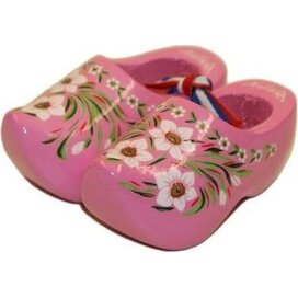 Souvenirklompje 8,5 cm Roze met bloemmotief