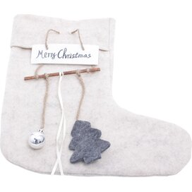 Felt Christmas Sock Beige