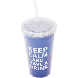 Keep Calm Cup and Straw Blue