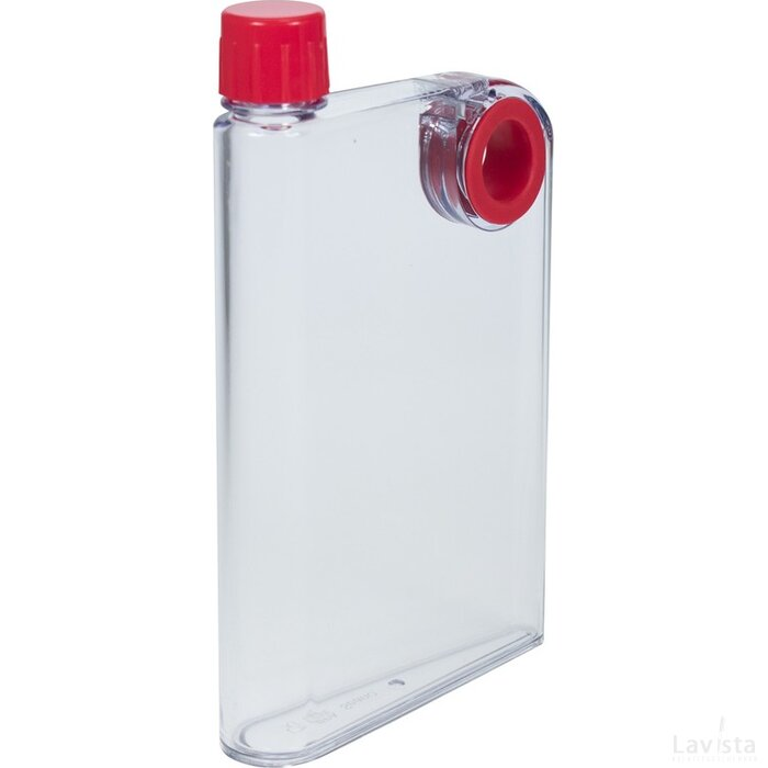 Platte waterfles A5 formaat 380 ml rood
