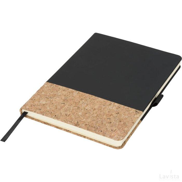 Evora A5 kurk en thermo PU notitieboek Zwart