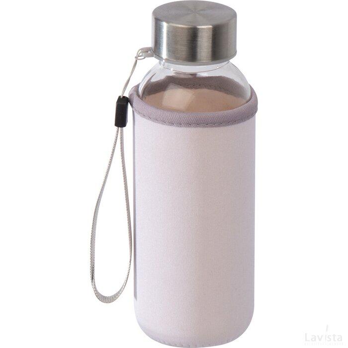 Drinkfles van glas met neopreen hoesje wit