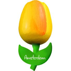 Tulip magnet 6 cm ( small ), yellow orange Amsterdam
