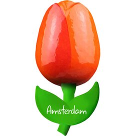 Tulip magnet 6 cm ( small ), orange red Amsterdam