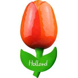 Tulip magnet 6 cm ( small ), orange red Holland