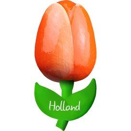 Tulip magnet 6 cm ( small ), orange white Holland