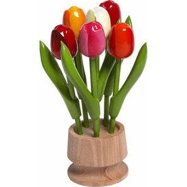 Wooden jar, 6 tulips