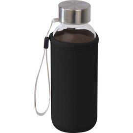 Drinkfles van glas met neopreen hoesje zwart