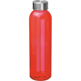 Glazen drinkfles met RVS sluiting rood