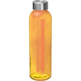 Glazen drinkfles met RVS sluiting oranje
