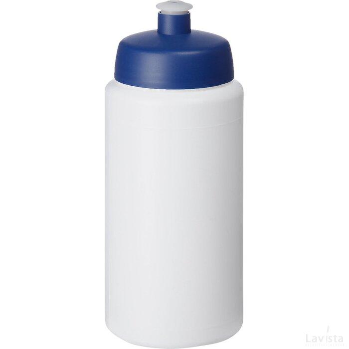 Baseline® Plus grip 500 ml sportfles met sportdeksel Wit,blauw