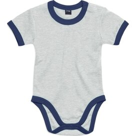 Baby Ringer Bodysuit Light Grey Melange/Nautical Navy