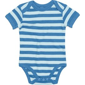 Baby Striped Short Sleeve Bodysuit Antique Blue/Dusty Blue