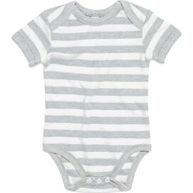 Baby Striped Short Sleeve Bodysuit Ash Grey Melange/White