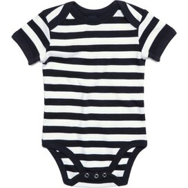 Baby Striped Short Sleeve Bodysuit Black/White