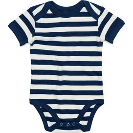 Baby Striped Short Sleeve Bodysuit Navy/Washed White