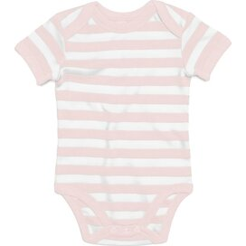 Baby Striped Short Sleeve Bodysuit Powder Pink/White