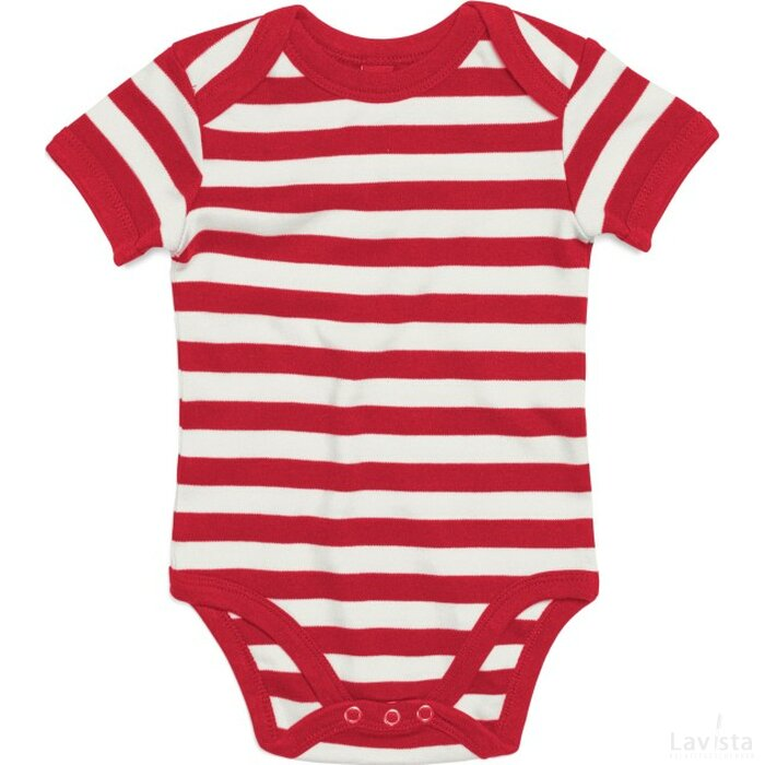Baby Striped Short Sleeve Bodysuit Red/Washed White
