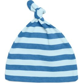 Baby Striped One-Knot Hat Antique Blue/Dusty Blue