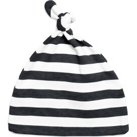 Baby Striped One-Knot Hat Black/White