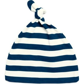 Baby Striped One-Knot Hat Navy/Washed White