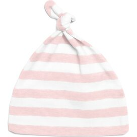 Baby Striped One-Knot Hat Powder Pink/White
