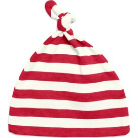 Baby Striped One-Knot Hat Red/Washed White