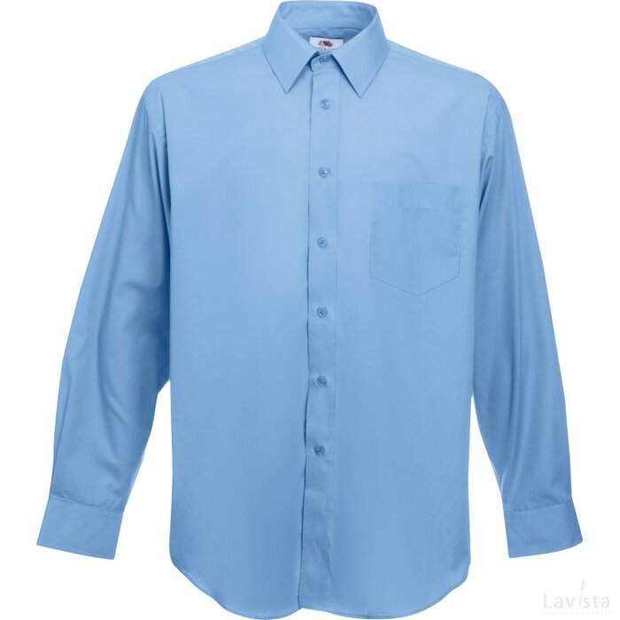 Men longsleeve Poplin Shirt Mid Blue