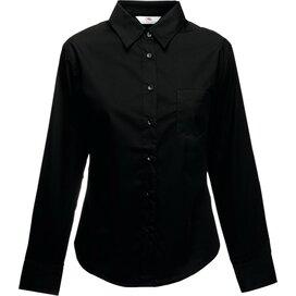 Lady-Fit longsleeve Poplin Shirt Black