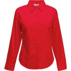 Lady-Fit longsleeve Poplin Shirt Red