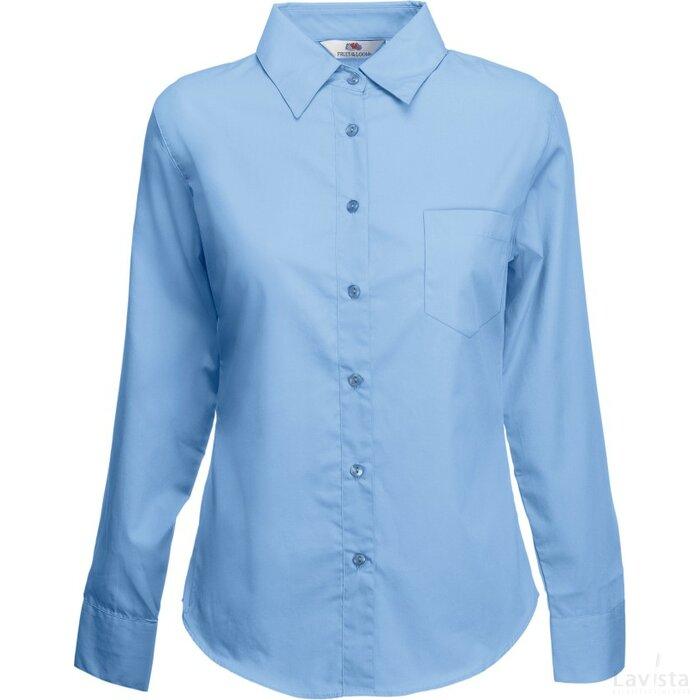 Lady-Fit longsleeve Poplin Shirt Mid Blue