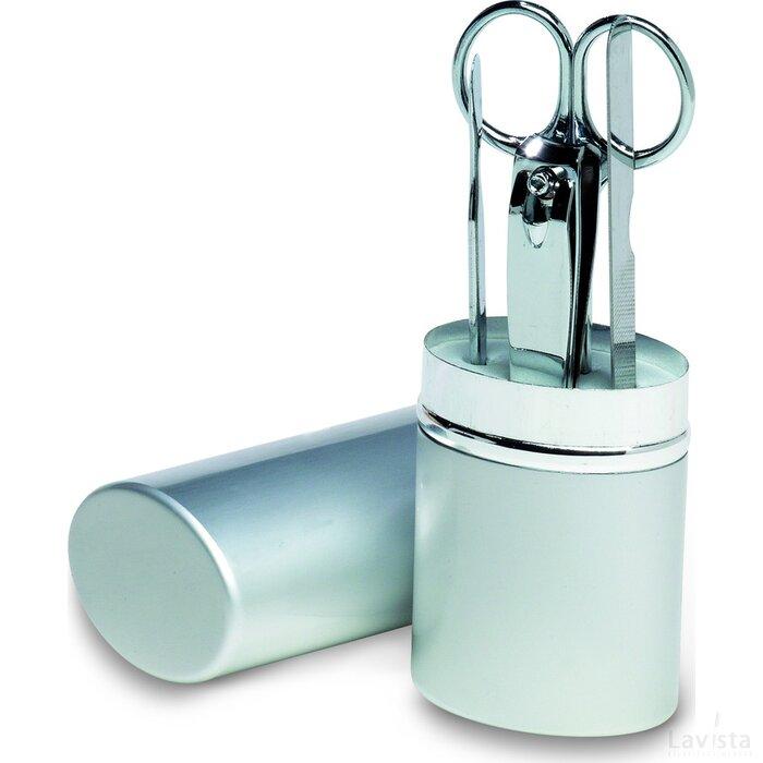 Manicureset in aluminium koker Silkin zilver