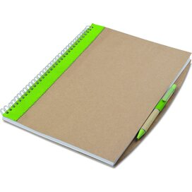 Gerecycled notitieboek met pen Papiros Lime groen