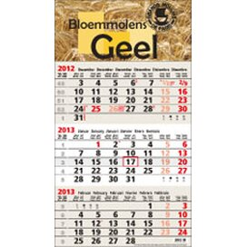 3-maands kalender/omplakte kopstrook - 3-maands kalender. Formaat 320 x 730 mm., formaat kopstrook 320 x 180 mm. Inclusief bedrukking in 1 of meerdere kleuren.