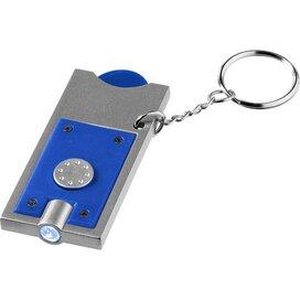 Allegro sleutelhanger met munthouder en lampje koningsblauw,Zilver