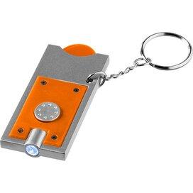 Allegro sleutelhanger met munthouder en lampje Oranje,Zilver